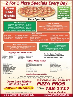 Pizza Pros - Pizza et pizzérias - 709-738-1717