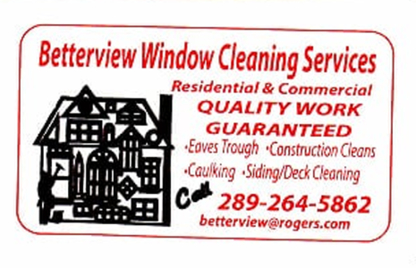 Betterview Window Cleaning Services - Window Cleaning Service - 289-264-5862