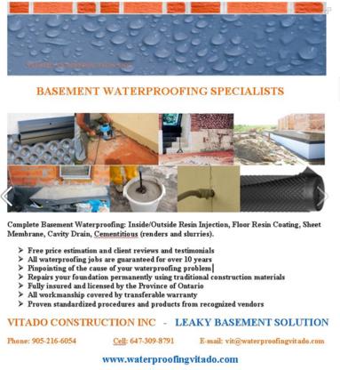 Vitado Waterproofing Cracks & Construction Inc - General Contractors