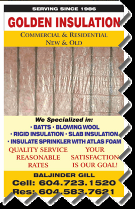 Cold & Heat Insulation Contractors in Surrey BC