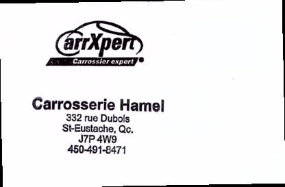 Carrosserie Hamel - Réparation de carrosserie et peinture automobile - 450-491-8471