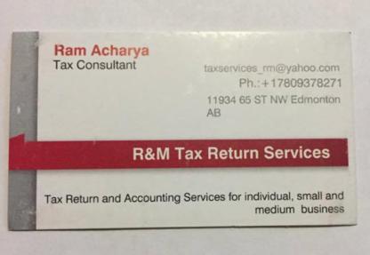 R&M Tax Return Services - Tax Return Preparation - 780-937-8271