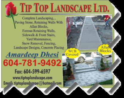 Tip Top Landscape Ltd - Landscape Contractors & Designers - 604-781-9492