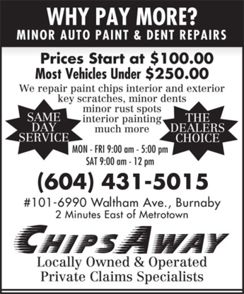 Chipsaway - Auto Body Repair & Painting Shops - 604-431-5015