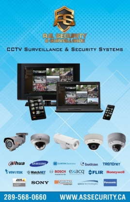 A.S. Security & Surveillance Inc - Security Control Systems & Equipment - 289-568-0660