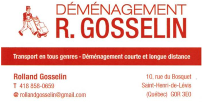 Déménagement R. Gosselin - Services de transport - 418-858-0659