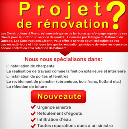 Les Constructions J.Morin - Entrepreneurs en construction