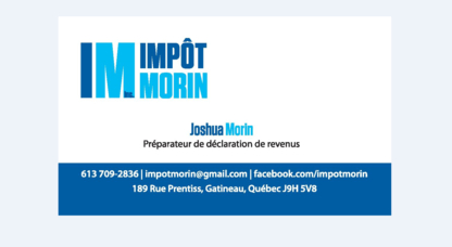 Impôt Morin Inc - Tax Return Preparation - 613-709-2836