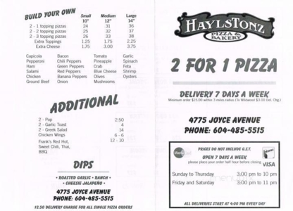 Haylstonz Pizza & Sushi - Pizza et pizzérias - 604-485-5515