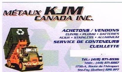 Métaux KJM Canada - Ferraille et recyclage de métaux - 418-871-6536