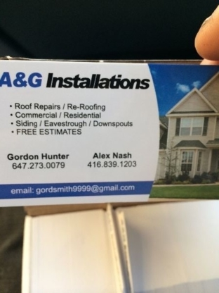 A & G Installations - Roofing Service Consultants - 647-273-0079