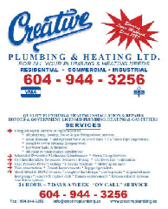 Creative Plumbing & Heating Ltd - Plumbers & Plumbing Contractors - 604-944-3256