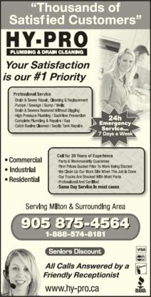 Hy-Pro Plumbing & Drain Cleaning of Milton - Plumbers & Plumbing Contractors - 905-875-4564