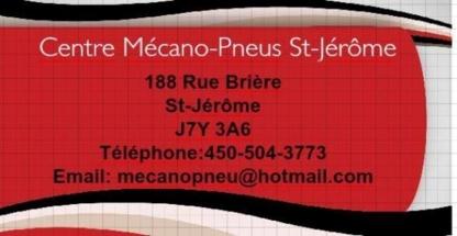 Centre Mécano-Pneus St-Jérôme - Garages de réparation d'auto - 450-504-3773