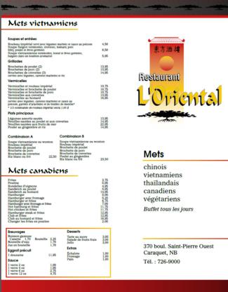 Restaurant L'Oriental - Restaurants chinois - 506-726-9000