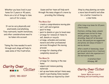 Clarity Over Clutter - Moving Services & Storage Facilities - 204-981-0037
