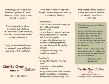 Clarity Over Clutter - Déménagement et entreposage - 204-981-0037
