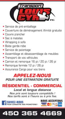 Transport Louis Cyr inc. - Déménagement et entreposage - 450-365-4669