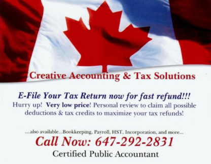 Creative Accounting & Tax Solutions - Accounting Services - 647-292-2831