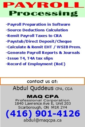 MAQ CPA Professional Corporation - Chartered Professional Accountants (CPA) - 416-901-4126