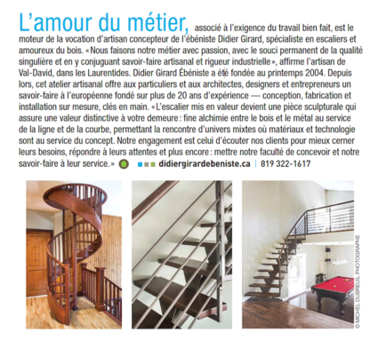 Didier Girard Ebéniste - Constructeurs d'escaliers - 819-322-1617