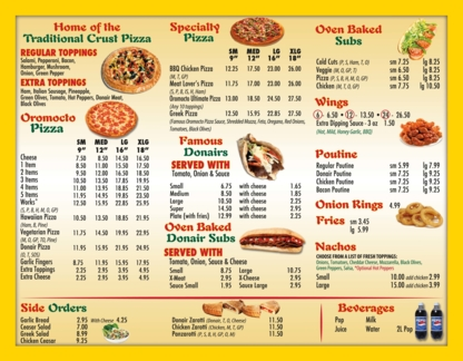 Oromocto Pizza and Donair - Poutine Restaurants