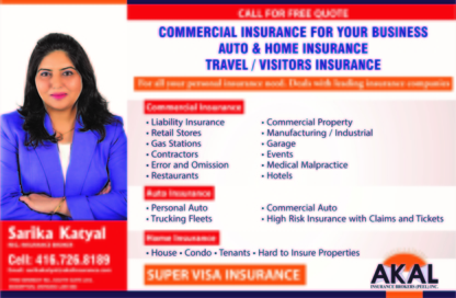 Sarika Katyal Registered Insurance Broker - Assurance voyage - 416-726-8189