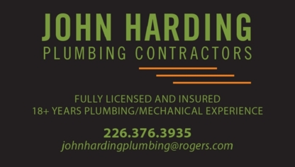 John Harding Plumbing Contractors - Plombiers et entrepreneurs en plomberie - 226-376-3935