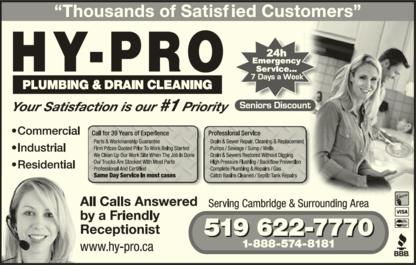 Hy-Pro Plumbing & Drain Cleaning of Cambridge - Plombiers et entrepreneurs en plomberie - 519-622-7770