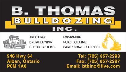 B Thomas Bulldozing Inc - Sand & Gravel - 705-857-2298