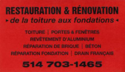Restauration & Rénovation - General Contractors - 514-703-1465