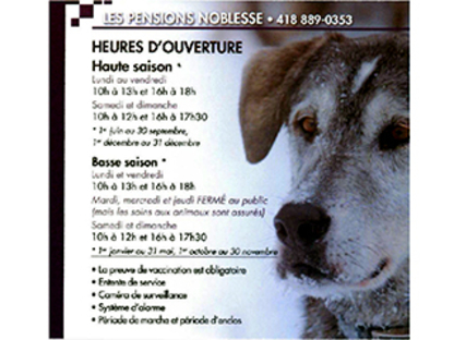 Les Pensions Noblesse - Garderie d'animaux de compagnie - 418-889-0353