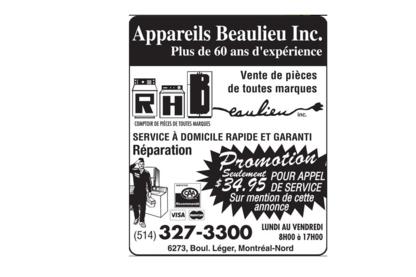 Centre D'Appareils Ménagers RH Beaulieu - Magasins de gros appareils électroménagers - 514-327-3300
