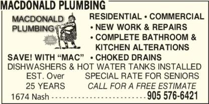 MacDonald Plumbing - Plombiers et entrepreneurs en plomberie - 905-576-6421