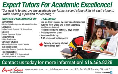 Expert Tutors - Educational Consultants - 416-466-8228