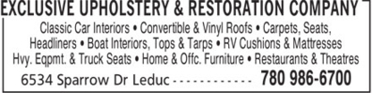 Exclusive Upholstery & Restoration Company - Upholsterers - 780-986-6700
