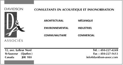Davidson & Associés inc (Ingénieurs-conseils) - Insonorisation