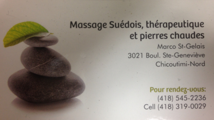 Massothérapie Marco St-Gelais - Massage Therapists - 418-545-2236