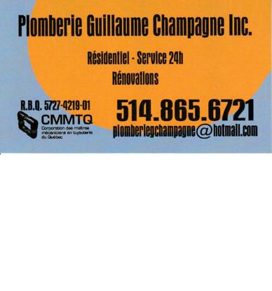 Plomberie Guillaume Champagne - Plombiers et entrepreneurs en plomberie - 514-865-6721