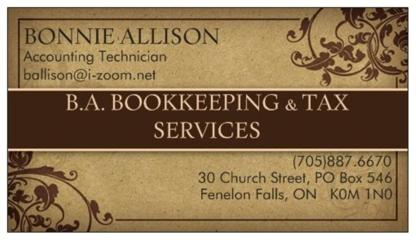 B A Bookkeeping & Tax Services - Tax Return Preparation - 705-887-6670
