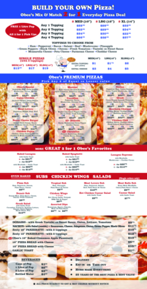 Obee's 2 For 1 Pizza & Pasta - Italian Restaurants