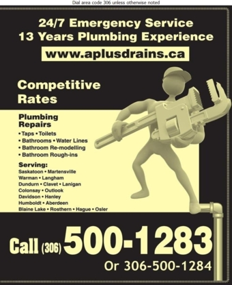 A Plus Drain Cleaning - Plumbers & Plumbing Contractors - 306-260-7970