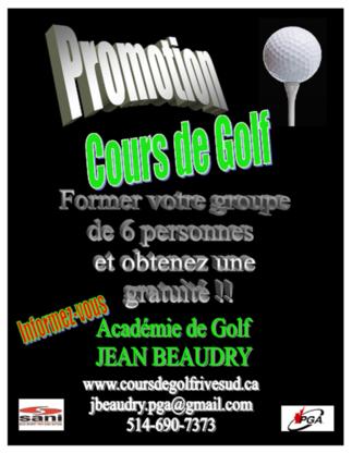 Académie de golf Jean Beaudry - Golf Lessons - 514-690-7373