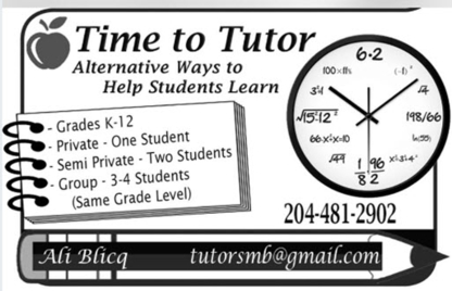 Time To Tutor - Educational Consultants - 204-481-2902