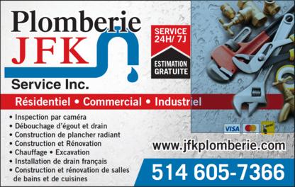 Plomberie JFK Services Inc - Plombiers et entrepreneurs en plomberie - 514-605-7366