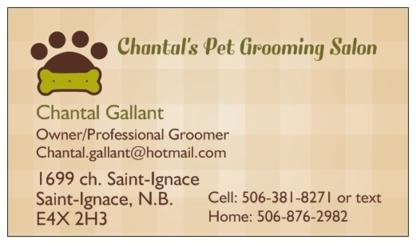 Chantal's Pet Grooming Salon - Toilettage et tonte d'animaux domestiques - 506-381-8271