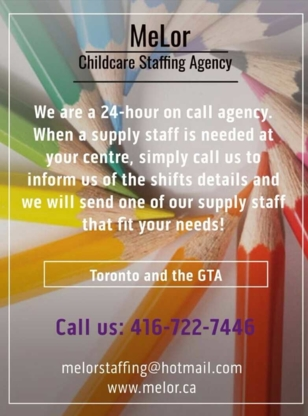 MeLor Childcare Staffing Agency - Employment Agencies - 416-722-7446