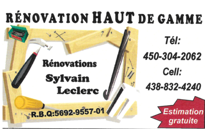 Rénovations Sylvain Leclerc - General Contractors - 438-832-4240