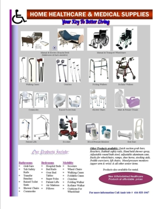 Affordable Healthcare Products - Home Health Care Equipment & Supplies - 416-833-1067