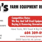 Tom's Equipment Repairs - Scrap Metals - 604-309-0291